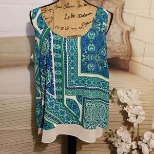 NWT, Rose+Olive Double Layer Paisley Blouse